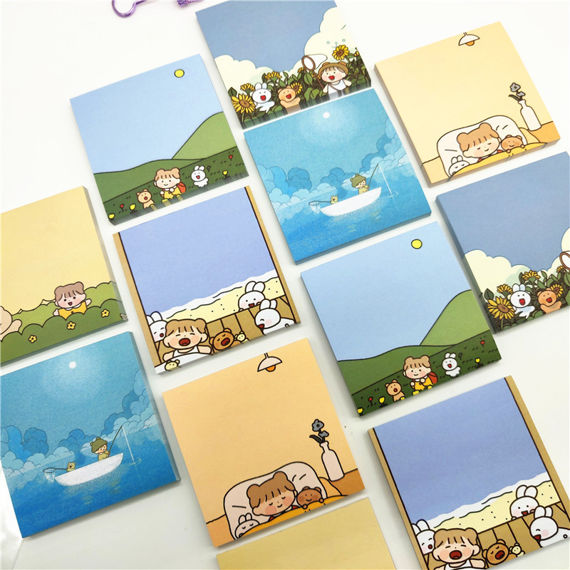 1 Pcs Cute Forest Girl Memo Pad Message Notes Decorative Mini Notepad Note Paper Memo Stationery Office Supplies