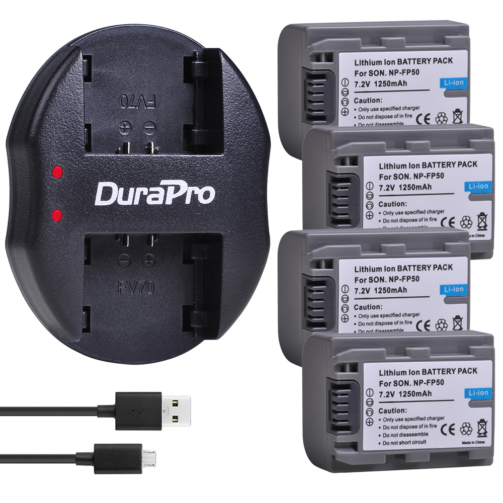 4pc 1250mAH NP FP50 NP-FP50 Batterie + Chargeur USB pour Sony NP-FP30 NP-FP50 NP-FP60 NP-FP70 NP-FP90 DCR-SX40 SX40r SX41 HDR-CX105