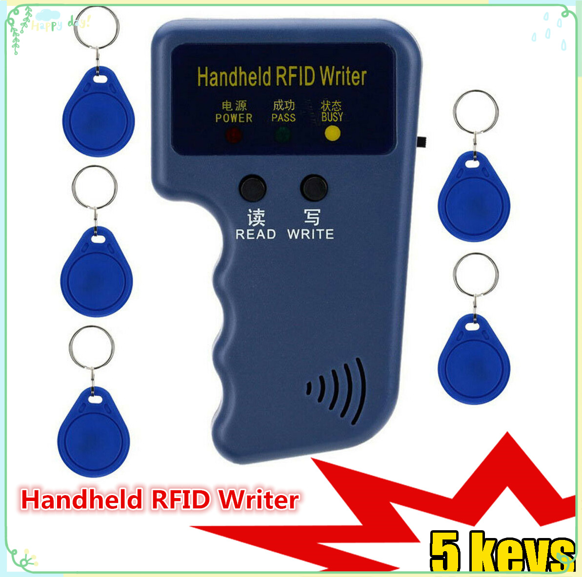 EM4100 125KHz Handheld RFID Writer Portable Programmer Copier T5577 5200 EM4305 Replicable ID Keychain Identification Card