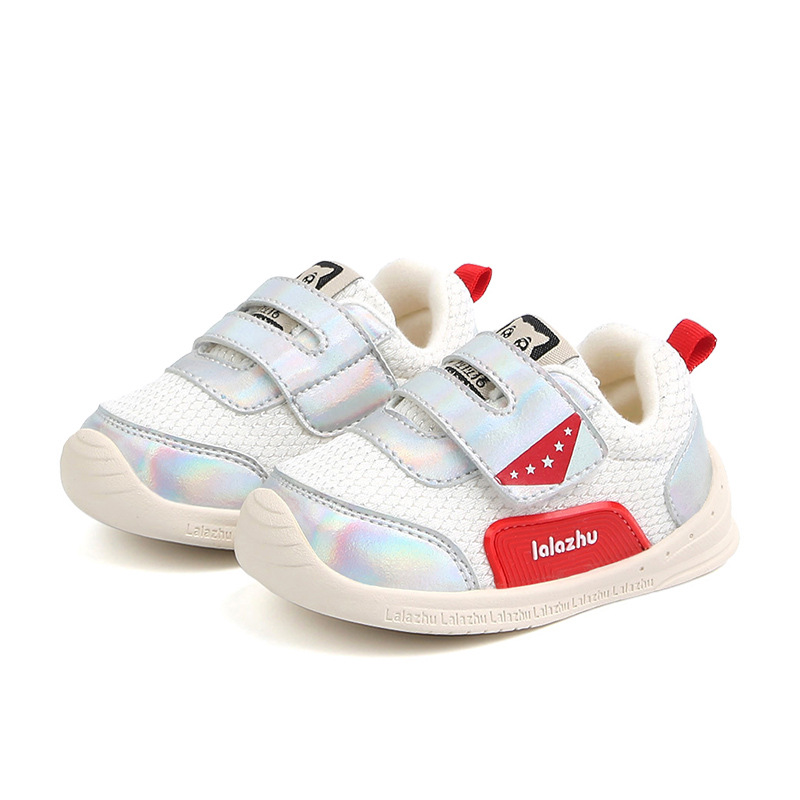 First Shoes Sneakers Soft-Rubber New White Gold Loop Prewalker Hook Glossy 1-3-Year-Old