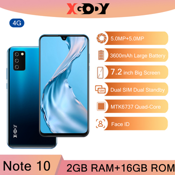 XGODY NOTE 10 Android 4G mobile phones 7.2 inch 2GB 16GB Face ID 5MP Camera Dual SIM GPS WIFI 19:9 smartphone Cellphone Unlock