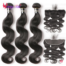 Body Wave 3 Bundles with Front Human Hair Weave Remy Yuyongtai Peruvian Hair Weave Bundles 13x4 Lace Front Medium Ratio(China)