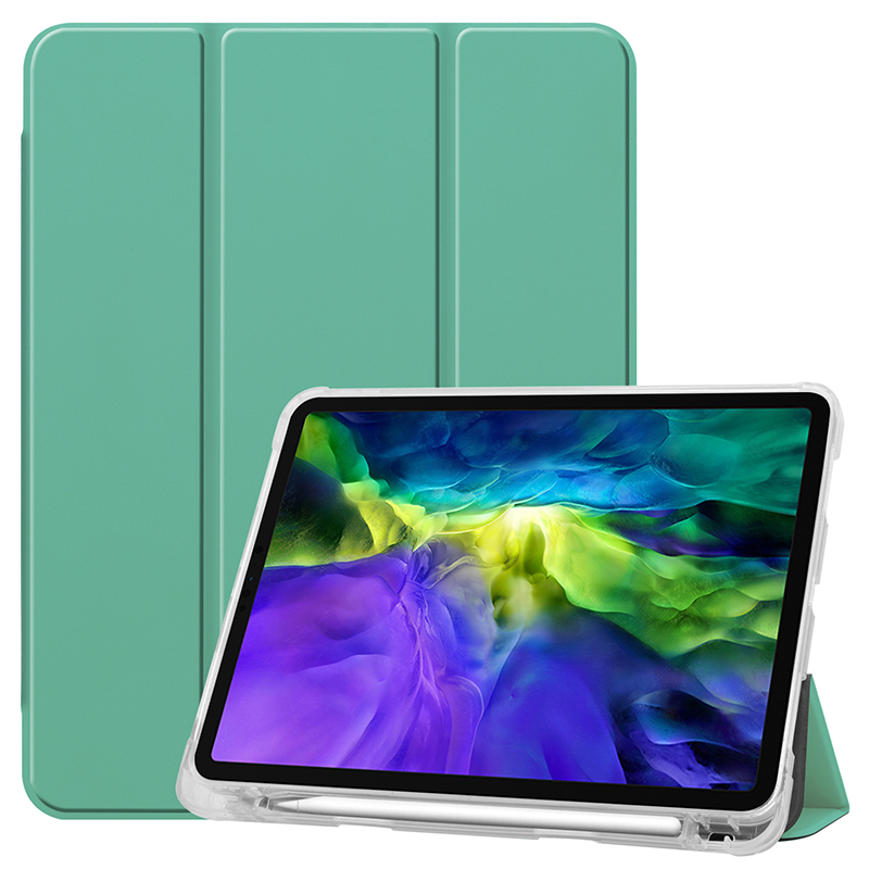 Green Green Clear TPU case with pencil slot for 2020 iPad Pro 11 inch A2228 A2068 A2230 transparent