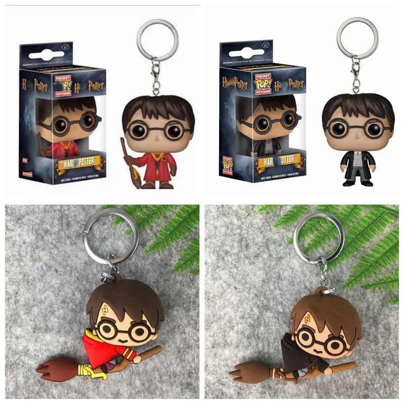 Pop 3D Harri Potter PVC Gantungan Kunci Mainan Dobby Hermione Granger Malfoy Ron Weasley Snape Mainan Pesta Cosplay Kunci cincin