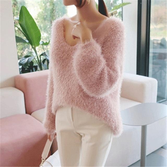 Ailegogo New 2019 Autumn Winter Women's Sweaters Loose Casual Fashionable Minimalist Tops Korean Style Knitting Ladies SW9160 2