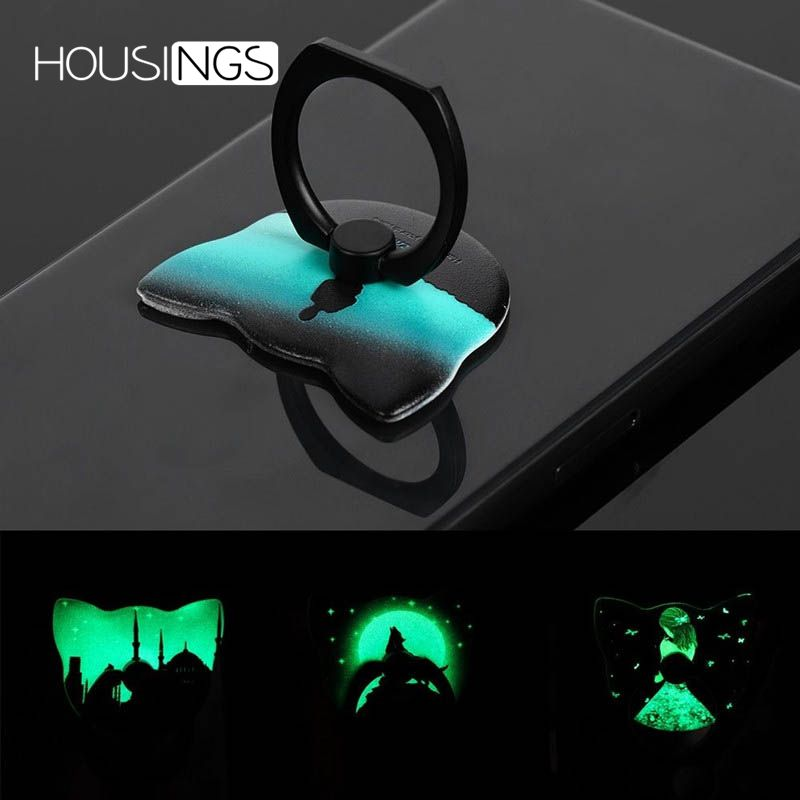Luminous Ring Holder For IPhone 7 8 Plus 360 Finger Ring Universal Stand For Samsung S9 Cartoon Lamp Night Phone Cute Bracket