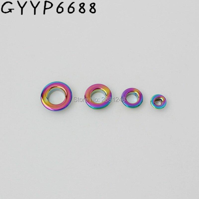 Acessório de Ferragem de Encaixe de Metal Pces Moda Cobre 8mm 10mm 13mm Arco-íris Empurrado Grommet Bolsas Pressionado Ilhós Redondos 50-200 4mm