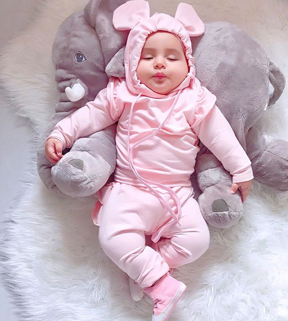 2PCS Toddler Kid Baby Girls Ruffle Tops Pants Pink Outfits Clothes Tracksuit Set