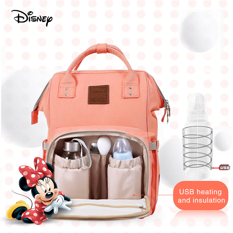 Disney couche maman maman sac isolation sac à dos Portable bébé soins couche humide sac USB maternité voyage poussette landau fauteuils roulants