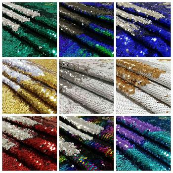 Shiny Beauty Gold/Black/Pink 5MM Reversible Sequin Fabric for dress/Table cloth/runner/Wedding decoration/background material image