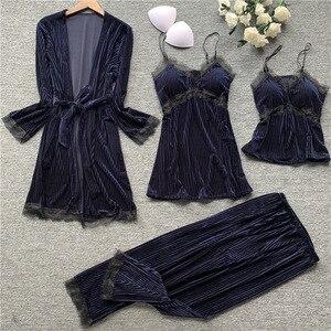 Image 4 - Autumn New 4 Pcs Thickening Velvet Long Sleeve Women Pajamas Lace Sexy With Chest Pad Spaghetti Strap Sleepwear