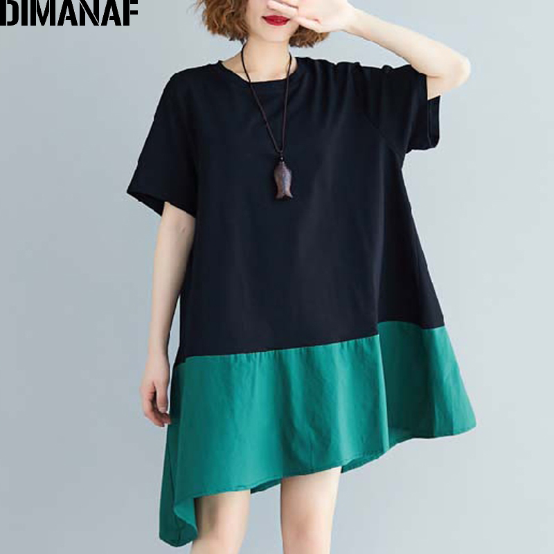 DIMANAF Plus Size Women Blouse Shirts Summer Basic Lady Tops Tunic Cotton Spliced Loose Casual Solid Female Clothing 2020 New