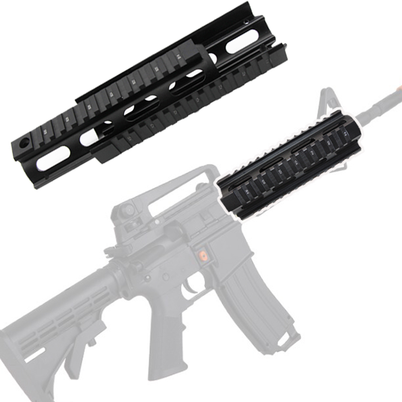 6.7 inc Tactical Hunting <font><b>AR</b></font>-<font><b>15</b></font> <font><b>Handguard</b></font> M4 Rifle Carbine RIS Quad Rail 2 Piece Drop-In Shooting Gear Mounting Rifle Accessories image