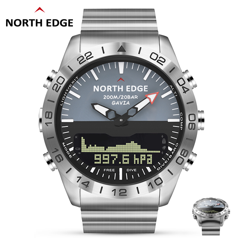 Diver Watch Men Military Sport Watches Diving Analog Digital Watch Male Army Stainless Quartz Clock Altimeter Compass NORTH EDGE