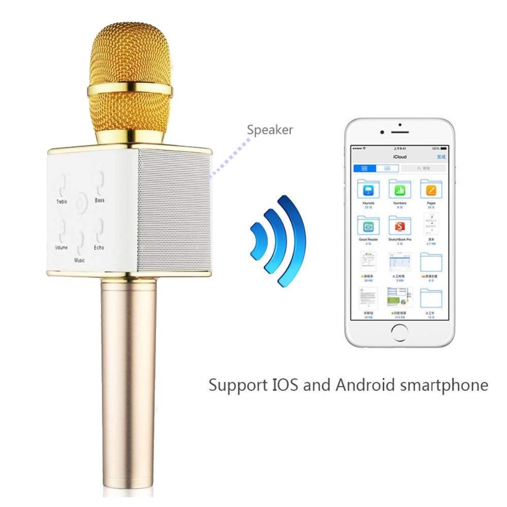 Q7 Wireless Bluetooth Studio Handheld K Song Microphone Singer Wheat Bully Karaoke Professional  MIC Speaker KTV  Microphones