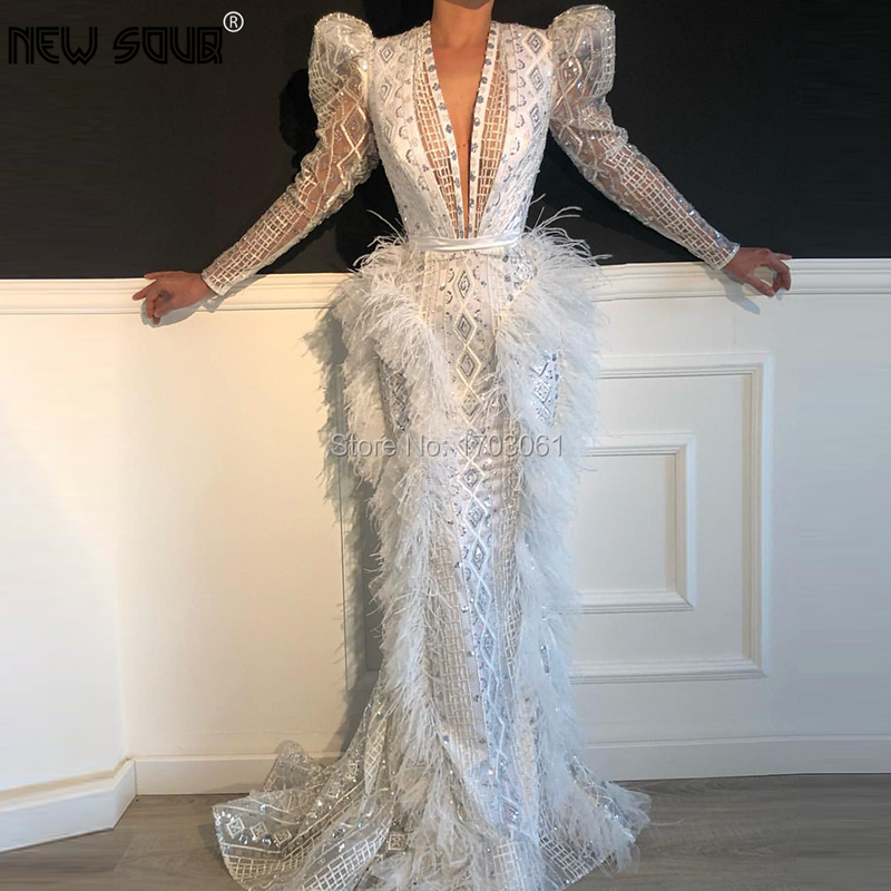 White Beading Sequins Long Evening Dresses 2020 Fashionable V Neck Prom Dress For Dubai Arabic Robe De Soiree Feathers Gowns