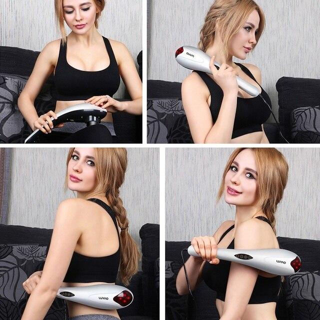LUYAO 4 In 1 Electric Neck Massager Hammer Massage Back Relax Multifunctional Cervical Vertebra Roller Massage Stick 4