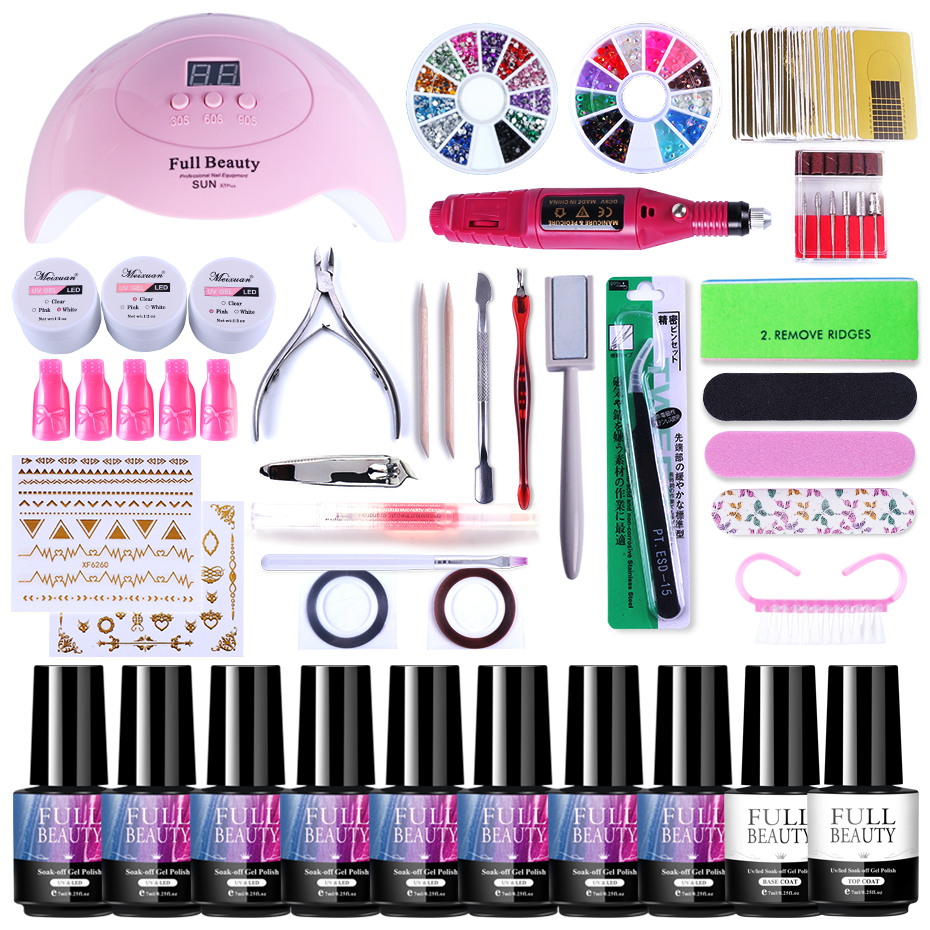 Nail Kit Poly Gel Set UV LED Lamp Dryer With Electric Drill Machine Cat Eye Gel Varnish Nail Gems Line Sticker Manicure SA1581