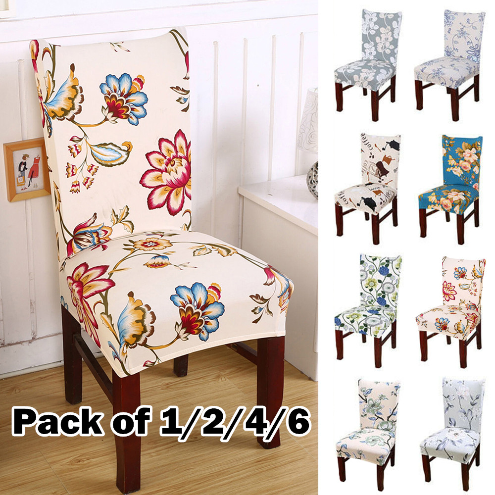 1/2/4/6pcs Flower Printed Stretch Removable Chair Cover Stretch Elastic Slipcovers For Wedding Banquet Folding Hotel Chair Cover