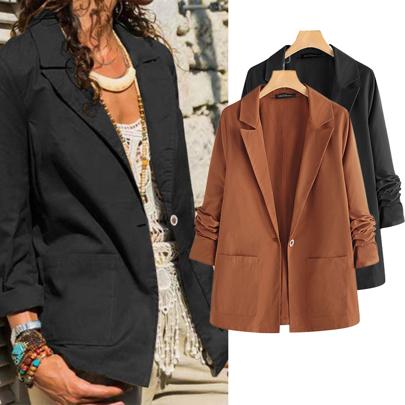 ZANZEA Women's Blazers 2020 Fashion Plus Size Female Solid Blazer Casual Long Sleeve Spring Autumn Outwear Chaqueta Mujer 5XL 7