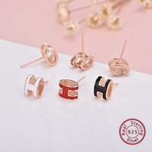 Women Enamel Earrings Silver 925 Letter H Stud Earring Rose Gold Color