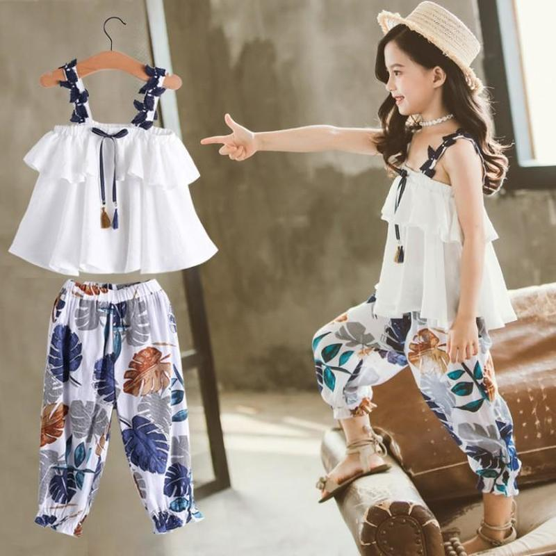 2020 Girls 5 Children's Clothing 6 Summer Suits 10 Children's Chiffon Straps Two-piece Suits Girls Clothes 10 12 Year