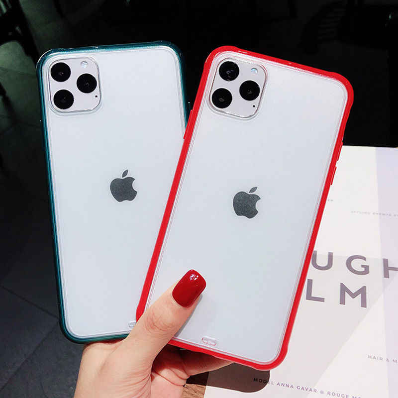 Transparan Shockproof Bingkai Telepon Frosted Case untuk iPhone 11 Pro Max 7 8 6 6S Plus Jelas Permen Warna hard Acrylic Back Cover