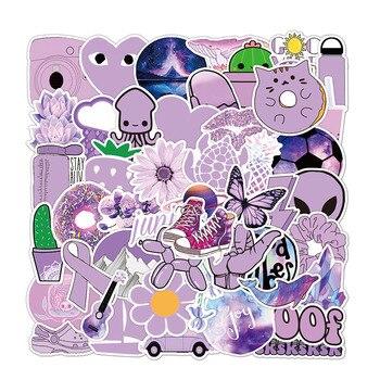 50Pcs Pack Anime Girl Purple Stickers Waterproof Cartoon Skateboard Luggage Vinyl Decals DIY Laptop Notebook Stickers 1