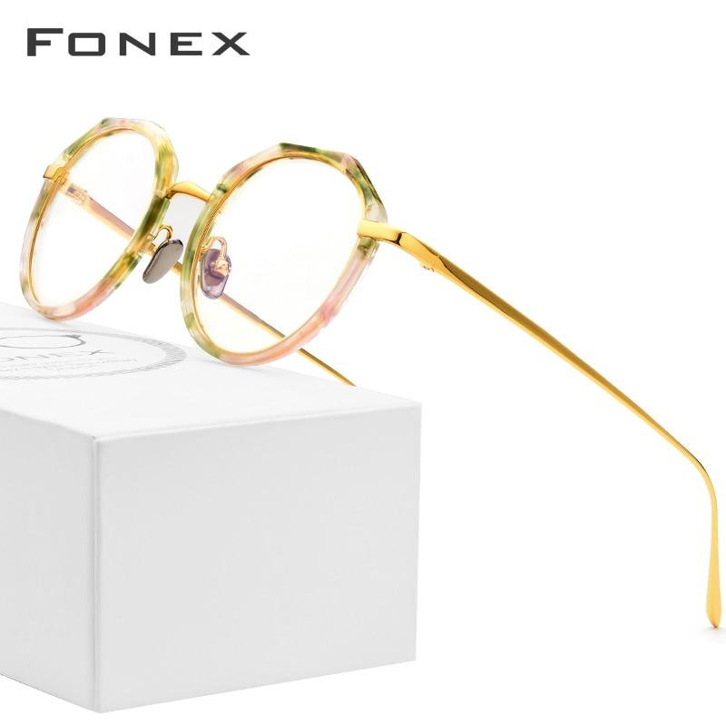 Pure Titanium Glasses Frame Women 2018 New Multicolor Round Ultralight Eyeglasses Prescription Men Myopia Optical Frames