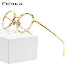 Fonex puro titânio óculos quadro feminino multicolorido redondo ultraleve óculos prescrição homem miopia óptica quadros eyewear
