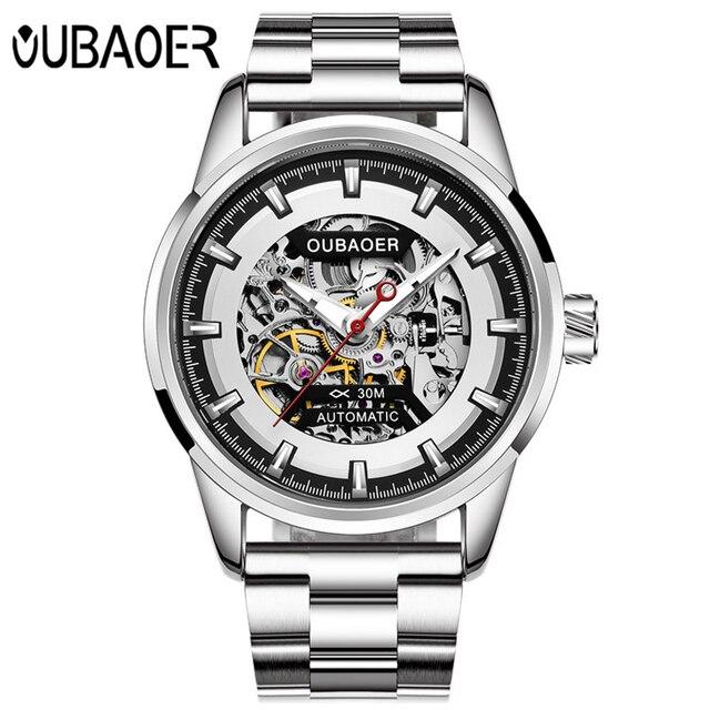 Luxe Merk Oubaoer Mannen Horloge Rose Goud Stalen Skelet Automatische Mechanische Horloge Mannen Sport Waterdicht Casual Horloge Klok