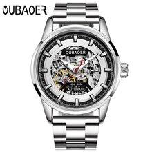 יוקרה מותג OUBAOER גברים שעון עלה זהב פלדה אוטומטי שלד מכאני שעון גברים ספורט עמיד למים מזדמן שעוני יד שעון