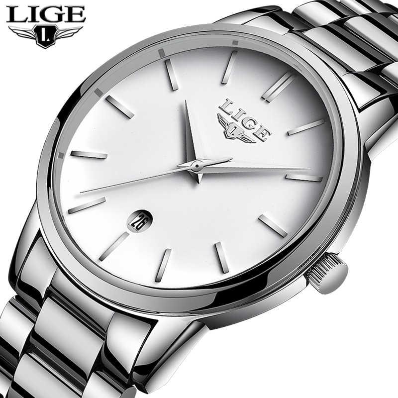 Женские часы LIGE, Серебристые часы со стальным браслетом в подарок, 2019