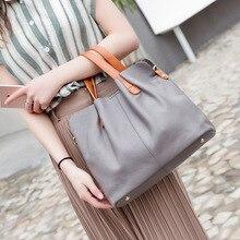 Top layer cowhide leather bag leather tote bag simple fashion shoulder bucket bag soft leather contrast color messenger handbag