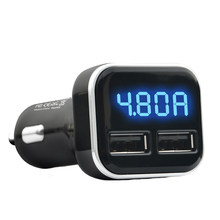 4.8A Voltage Monitoring Auto Mobile Phone Socket Fast Car Charger Mini Accessories Universal Convenient Dual USB LED Display(China)
