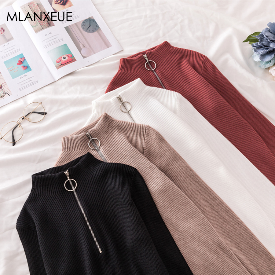 Solid Knitted Turtleneck Sweater Women Korean Zipper Up Slim Knit Pullovers Female 2019 Autumn Winter Bottoming Sweaters Femme