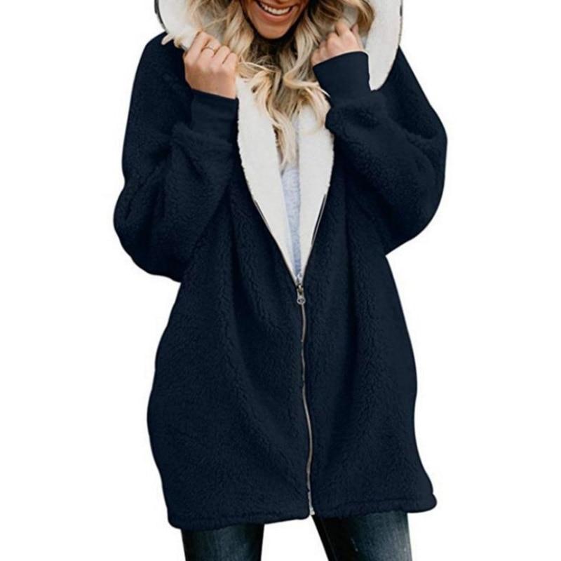 NORMOV Women Woolen Sweatshirts Warm Longsleeve Thick Zipper Hooded Swetshirts Solid Winter Sweatshirts Casual Hoodies Plus Size