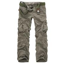 2020 calças de carga dos homens de alta qualidade casual solto multi bolso calças militares calças compridas para homens camo joggers plus size 28 40