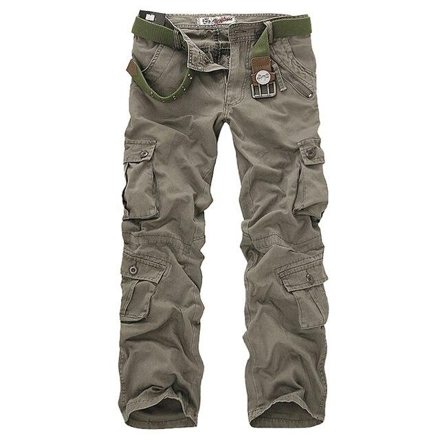 2020 באיכות גבוהה גברים של מכנסיים מטען מזדמן רופף כיס רב צבאי מכנסיים ארוך מכנסיים לגברים Camo רצים בתוספת גודל 28 40