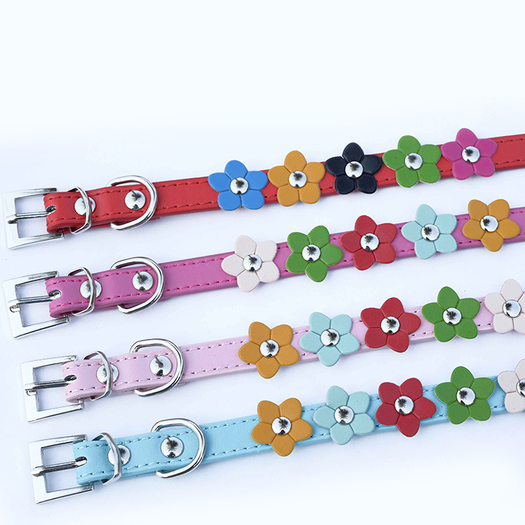Pet Cute Rainbow Small Flower String PU Leather Pet Collar Dog Pendant Dog Collar