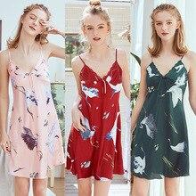 Women's Pajamas Silk Floral Overall Print Pajama Satin Pajama Summer Women Sleepwear Nightgowns Home