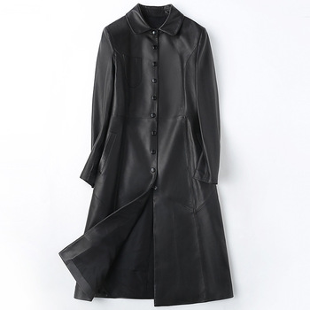 Office OL Women Real Sheepskin Black Coat Genuine Leather Loose Length Single Breasted High Quality Jacket Fall Winter Outwear