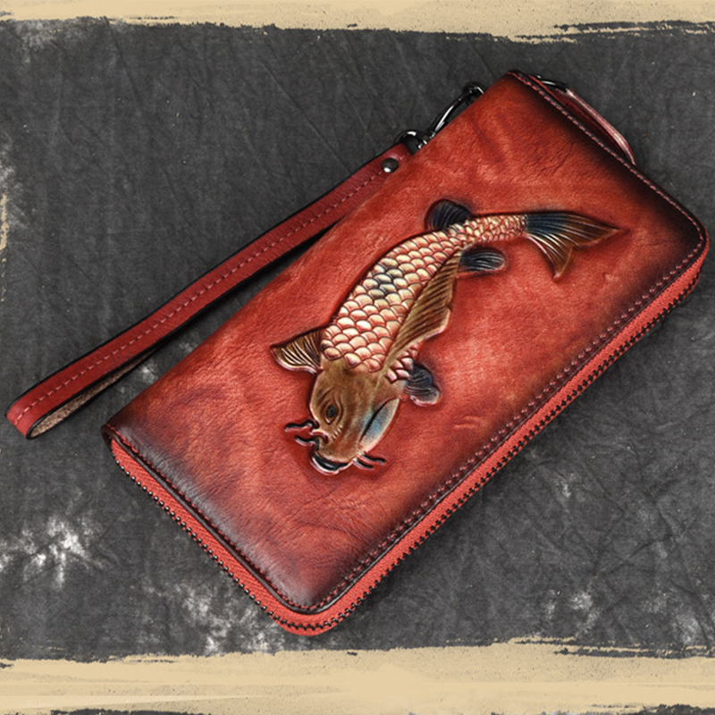 Luufan High Quality Female Engraving Embossing Leather Long Purse Featured Genuine Leather Long Wallet Red Black Brown For Girls