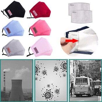 Mascarilla facial de algodón reutilizable PM2.5 con 2 filtros, máscara facial antipolvo...