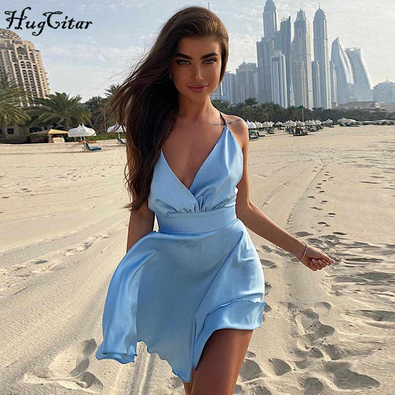 Hugcitar 2020 Mouwloze V-hals Sexy Mini Slip Dress Backless Boog Roze Solid Zomer Vrouwen Streetwear Party Outfits