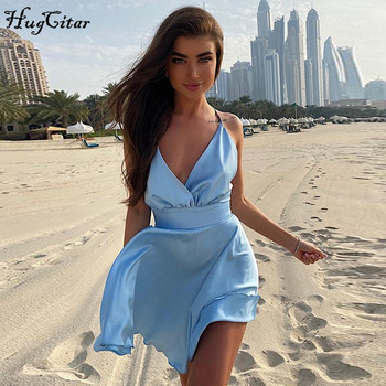 Hugcitar 2020 sleeveless V-neck sexy mini slip dress backless bow pink solid summer women streetwear party outfits 2019 fashion sexy slip satin solid color long dress women summer maxi dress sleeveless backless deep v neck party club dress