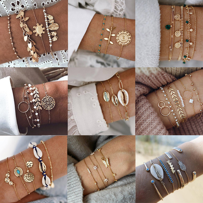 Tocona Boho Multilayer Adjustable Open Gold Bracelets for Woman Retro Shell Beads Geometric Bracelet femme Indian Jewellery