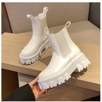 New Fashion Leather Female Chelsea Boots Spring Autumn Platform Ankle Boots Women Thick Heel Platform Boots Ladies Worker Boots gdgydh spring luxury shoes women boots designer thick heel platform female ankle boots sexy buckle comfortable round toe boots