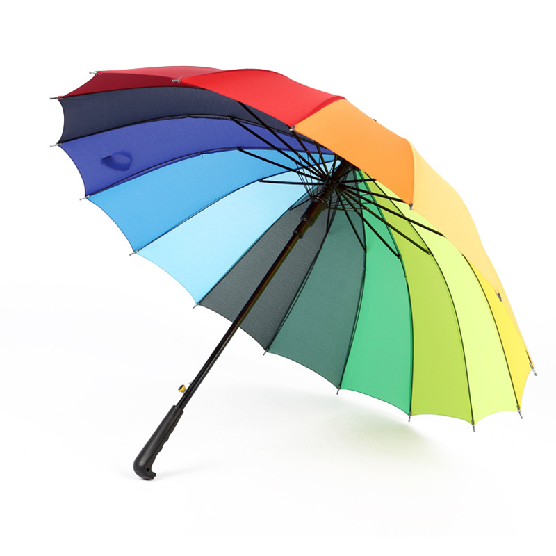 16K Windproof Rainbow <font><b>Big</b></font> <font><b>Umbrella</b></font> Rain Women Men Sun Walking Long-handle Straight <font><b>Golf</b></font> <font><b>Umbrellas</b></font> Automatic-open Parasol image
