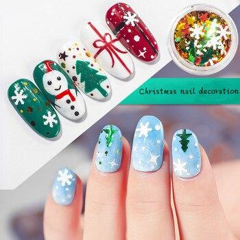 цена на 6 Pieces of Christmas Manicure Art Decoration Snowflake Christmas Tree Snowman Pentagram Set Nail Sequin Decoration